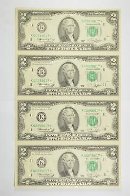Rare** UNCUT SHEET 1976 $2 Fed Res Notes Choice Unc Never Cut by Treasury *822