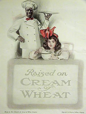 Otto Schneider RAISED on CREAM OF WHEAT Ad 1920 Matted Girl w Big Red Bow
