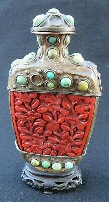 Antique Chinese Cinnabar & Brass Snuff Bottle w/ Turquoise Wood Stand Mongolian