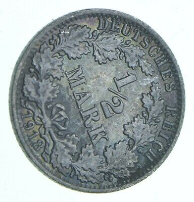 SILVER - Roughly Size of Dime - 1918 Germany 1/2 Mark - World Silver Coin *913