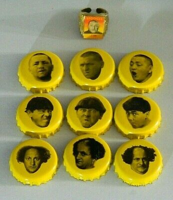 3 Three Stooges Panther Beer Bottle cap lot of 9 different  & a Curly ring
