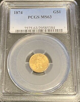 1874 US Gold $1 One Dollar PCGS MS63 no reserve 3 days! HIGH $ value gold!