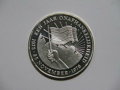 Suriname 1976 10 Gulden 1St Anniversary Independence Proof Silver World Coin ???