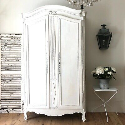 Antique French painted armoire wardrobe with hanging rail