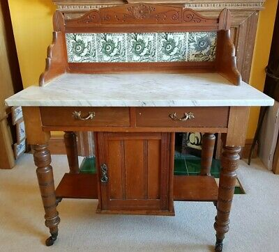Victorian Pine And Marble Washstand