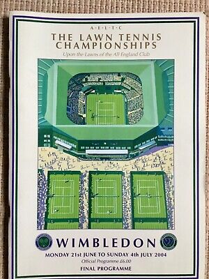 RARE WIMBLEDON FINAL TENNIS PROGRAMME With Printed Results 2004