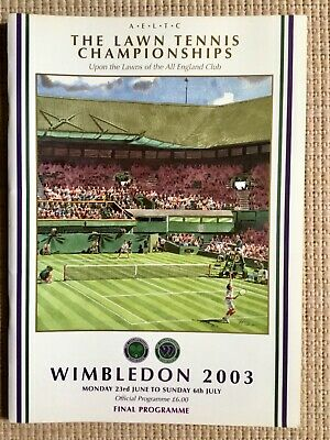RARE WIMBLEDON FINAL TENNIS PROGRAMME With Printed Results 2003