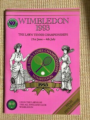 RARE WIMBLEDON FINAL TENNIS PROGRAMME With Printed Results 1993