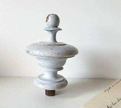 Light gray Antique salvaged wood finial for furniture restoration project 4.06""