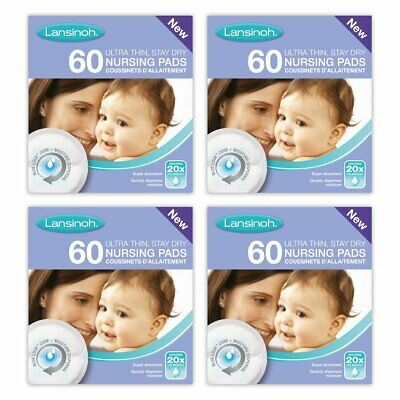 Lansinoh Disposable Nursing Breast Pads with Blue-Lock core pack of 4 x 60 pads