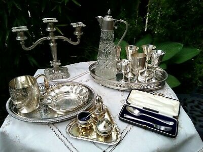 Vintage Antique Silver Plated Decanter Glass Bacchus Candlestick Tray Job Lot