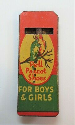 Antique Vintage Tin Litho Advertising Toy Whistle-Children's POLL PARROT SHOES