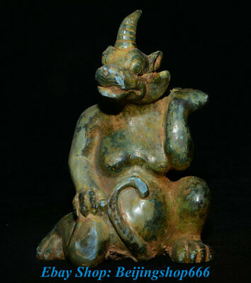 """4"""" Old Chinese Bronze Ware Dynasty Palace Dragon Beast Kylin Unicorn Sculpture"""
