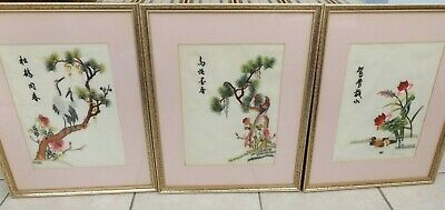 Vintage Set Of 3 Framed Chinese Embroidered Silk Pictures Vgc