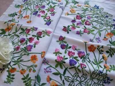 Exquisite Vtg Hand Embroidered Irish Linen Tablecloth ~ Wild Clover And Flora