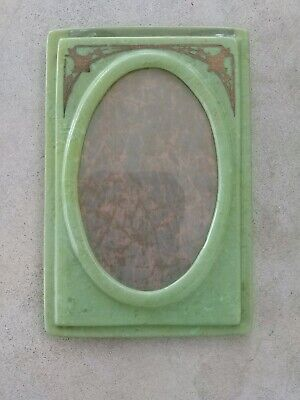 """Vintage art deco picture frame oval swirl green celluloid 1920s 5 1/2""""-3 1/2"""""""
