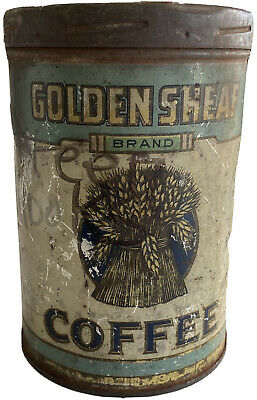 Antique Golden Sheaf Coffee Tin Can Peter G Lennon & Co Joliet Illinois 1920's