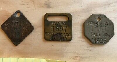 1918, 1919 &1926 Maryland DOG TAG LICENSE TAX Wicomico Howard Frederick counties