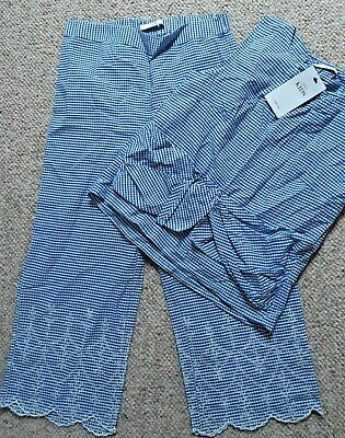 BNWT Girl's Blue Checked top with cullottes outfit M&S 11/12 years