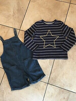 Marks & Spencer Girls Denim Playsuit & Top Age 4-5 Years Vgc