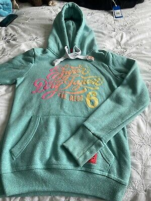 Vintage Superdry Track & Field Age 12 - 13 (Ladies XS) pale Green Hoodie