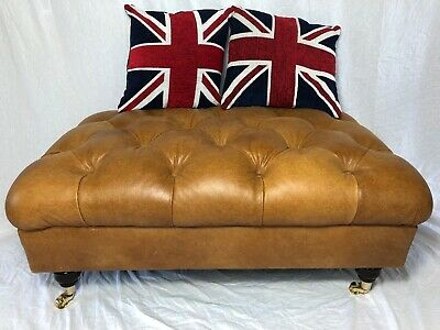 1 Extra Large Contemporary Original Golden Tan Leather Chesterfield Footstool