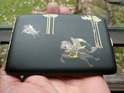 Japanese Samurai Damascene Cigarette Case, Gold, Silver, Bronze. Excellent Cond