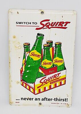 """Vintage Small Switch to Squirt Tin Advertising Soda Door Push Plate 6"""" x 4"""" Sign"""