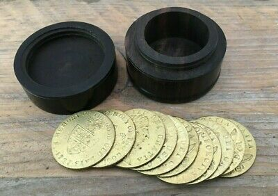 """Super Victorian """" Georgian Gold Guinea"""" Gaming Counters in Turned Treen Box"""