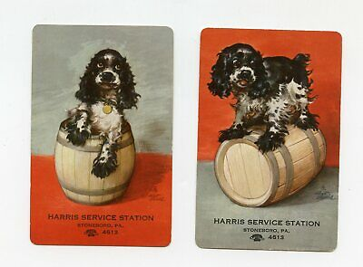 Harris Service Station Stoneboro PA lot of 2 Playing Cards 3 of diamonds
