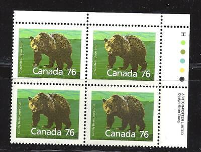 Canada Mammal Definitive Grizzly Bear Plate Block Scott 1178 Vf Mint Nh(Bs15250)