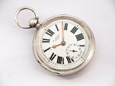 Antique  Solid Silver Dennison Cased  Pocket Watch By H Stone Of Leeds + Key