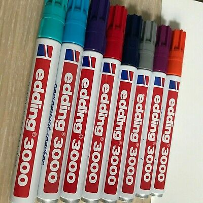 8 Edding 3000 Permanent Marker 1,3-3 mm rot, grau, orange, lila, dunkelblau, ...