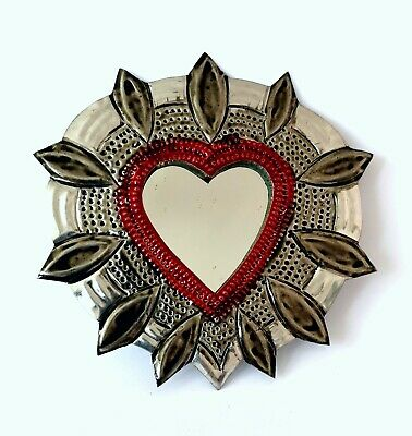 Small Mexican Folk Art Tin Heart & Mirror Natural Tin Antiqued Patina #002