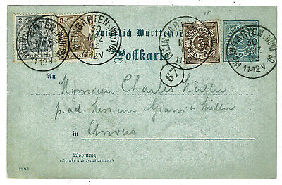 1902 Uprated Württemberg Postal Stationery Card - 10pf Mixed Germany Franking
