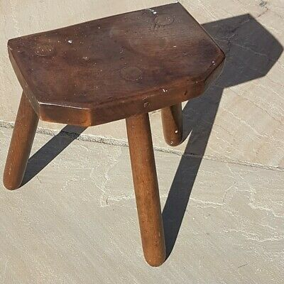Antique Milking Stool ~ Welsh Three Legged Oak Stool