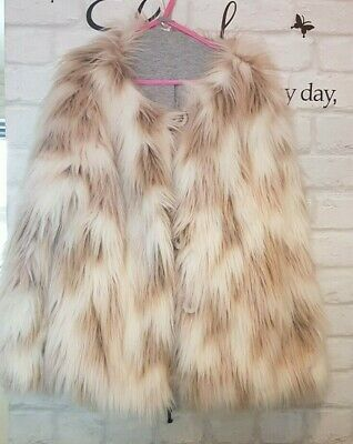 gorgeous girls brown & cream fur jacket age 10 years NEXT (7a)