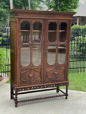Antique English Oak Bookcase Display Cabinet Jacobean Barley Twist Glass Doors