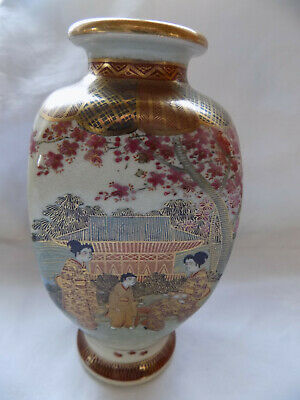 Antique/Vintage Oriental Japanese Satsuma Hand Painted Vase - Signed Collectable