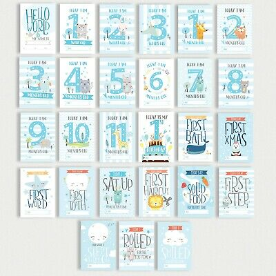 Baby Milestone Cards • 1st Year Memorable Moments Boy Age Blue Children Gift