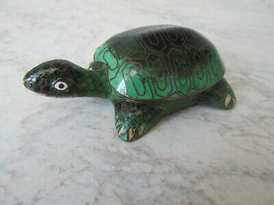 Cloisonne tortoise with lid  in Green  - good condition