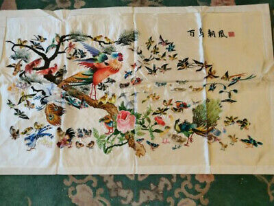 Chinese Silk Embroidery depicting 100 birds, 98cm x 58cm unframed