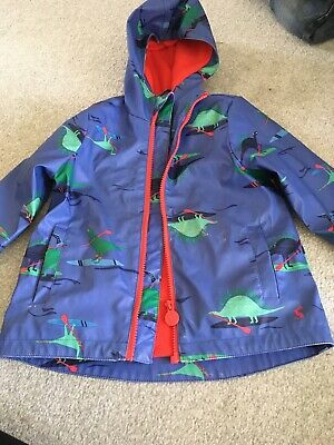 Joules Right As Rain Jacket Age 3 Coat Lightweight Blue Dinosaurs Boys Girls