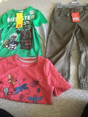 Boys Age 3-4 Bundle New Top Trousers Tshirt Lego John Lewis Boots Khaki Monsters