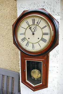 Antique Ansonia Drop Dial Wall Clock with Seconds Hand
