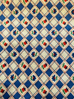 """Vintage Feed sack 20"""" x 36"""" checkered blue white tulip floral some discoloration"""