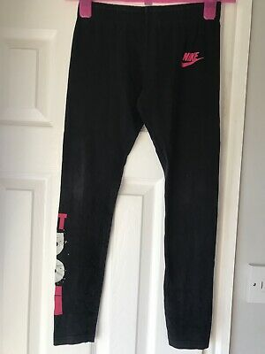 Nike Girls Gymnastics Leggings Black Pink Just Do It Age 10-12 Years