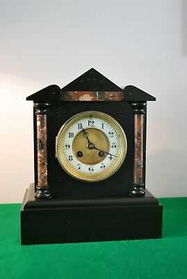 Rare Antique French Black Slat and Marble Mantle Clock.