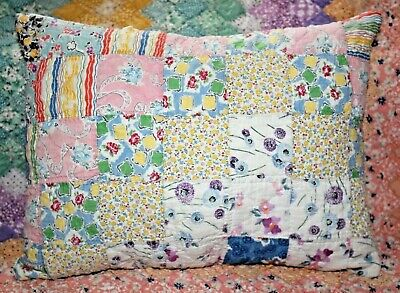 NEW Lumbar Pillow Made From Vintage 1930's Postage Stamp Handmade Quilt PS1216-3