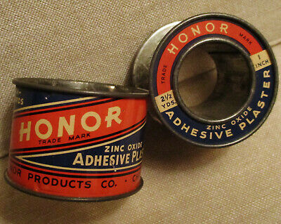 Vintage Advertising Tin-HONOR ADHESIVE PLASTER-First Aid-Medical Tape Can